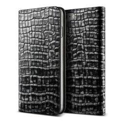 VRS Design (VERUS) iPhone 7 Genuine Croco Diary oldalra nyíló bőr tok, sötét ezüst