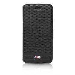 BMW iPhone 6 Plus/6S Plus M Sport Adrenaline Embossed Lines oldalra nyíló tok, flip tok, fekete