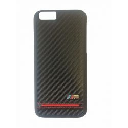 BMW iPhone 6/6S M Sport Carbon Print & Stipe Piping Red hátlap, tok, fekete