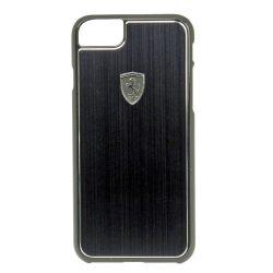 Ferrari iPhone 6/7/8 Heritage Aluminium Hard hátlap, tok, fekete logóval, fekete