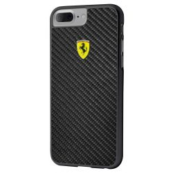 Ferrari iPhone 6 Plus/7 Plus/8 Plus Real Carbon Fiber hátlap, tok, fekete