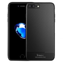 iPaky Carbon Fiber iPhone 7 Plus/8 Plus hátlap, tok, acél ezüst