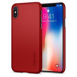 Spigen iPhone X/Xs Thin Fit Metallic hátlap, tok, piros