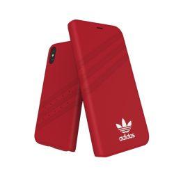 Adidas Originals Gazelle Booklet iPhone X/Xs oldalra nyíló tok, piros-fehér