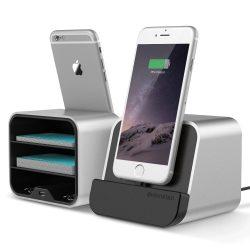 VRS Design (VERUS) New i-Depot asztali dokkoló, hálózati töltő iPhone SE/ 6/ 7/ 8/ X/ iPad, MFI, iOS kompatibilis, ezüst