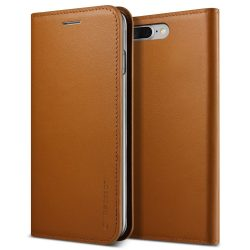 VRS Design (VERUS) iPhone 7 Plus/8 Plus New Genuine Leather Diary oldalra nyíló tok, flip tok,, barna