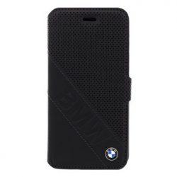 BMW iPhone 6/6S Signature Slanted Logo oldalra nyíló tok, fekete