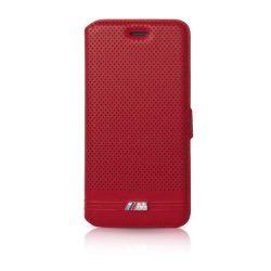 BMW iPhone 6 Plus/6S Plus M Sport Adrenaline Embossed Lines oldalra nyíló tok, flip tok, piros