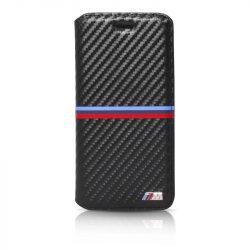BMW iPhone 6 Plus/6S Plus M Sport Carbon Inspiration Stripe Horizontal oldalra nyíló tok, flip tok, fekete