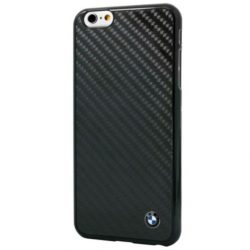 BMW iPhone 6 Plus/6S Plus Signature Real Carbon Fiber hátlap, tok, fekete
