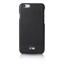 BMW iPhone 6 Plus/6S Plus M Sport Adrenaline Hard Embossed Line bőr hátlap, tok, fekete