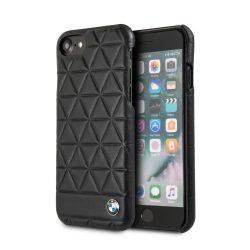 BMW iPhone 6/7/8 Signature Embossed Hexagon Leather Hard hátlap, tok, fekete