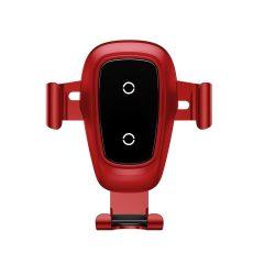 Baseus Metal Wireless Charger Gravity Car Mount autós telefon tartó és vezeték nélküli töltő, piros