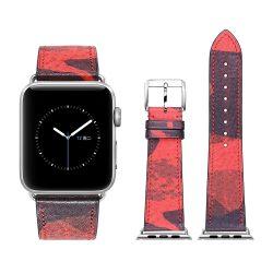Apple Watch bőr 40mm óraszíj, piros-barna