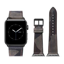 Apple Watch bőr 44mm óraszíj, szürke-kék