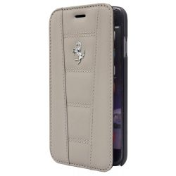 Ferrari iPhone 6 Plus/6S Plus 458 Genuine Leather oldalra nyíló tok, flip tok, sötét szürke