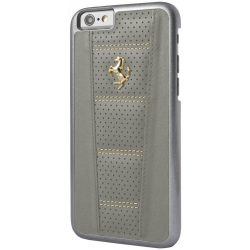 Ferrari iPhone 6/6S 458 Perforated Hard Leather Gold Logo hátlap, tok, szürke