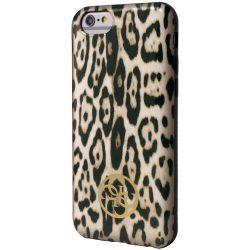 Guess iPhone 6 Plus/6S Plus Animalier Print hátlap, tok, leopárd barna