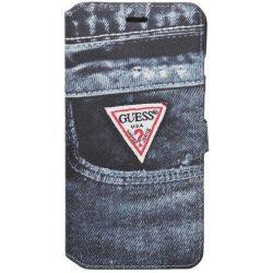 Guess iPhone 6 Plus/6S Plus Denim Jeans oldalra nyíló tok, flip tok, fekete