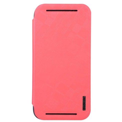 Baseus Brocade HTC M8 oldalra nyíló tok, flip tok, rózsaszín