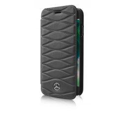 Mercedes-Benz iPhone 6 Plus/7 Plus /8 Plus Pattern III Genuine Leather eredeti bőr oldalra nyíló tok, sötétszürke
