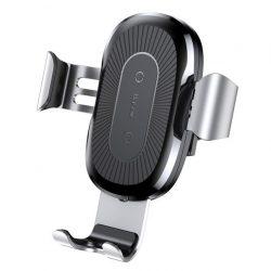 Baseus Gravity Car Air Vent Mount univerzális autós telefon tartó és QI indukciós vezetéknélküli töltő, fekete-ezüst