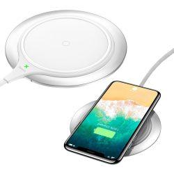 Baseus Metal Qi Wireless Charger, univerzális asztali vezeték nélküli töltő, 2A, 10W, fehér